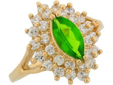 10k / 14k Yellow Gold Simulated Peridot White CZ August Ladies Birthstone Ring