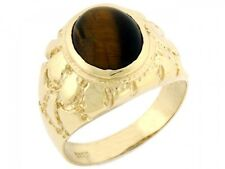 10k / 14k Solid Yellow Gold Oval Tiger Eye Nugget Mens Ring