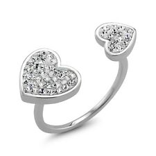 Rhodium-plated Clear Crystal Double Sided Heart Preciosa Ring. Shipping is Free