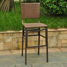 International Caravan Barcelona Resin Wicker Outdoor Bar Height Chairs with Alum
