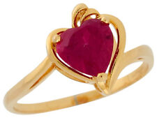 10k / 14k Yellow Gold Heart Shaped Simulated Ruby Ladies Bypass Chic Ring