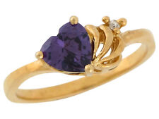 10k / 14k Yellow Gold Heart Shaped Amethyst and Diamond Ladies Modern Look Ring