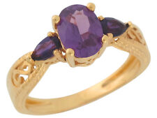 10k / 14k Solid Yellow Gold 3 Stone Genuine Amethyst Ladies Classy Ring