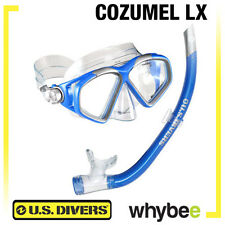 US DIVERS COZUMEL LX 2 PIECE SNORKEL MASK & SNORKEL SNORKELING SET ELECTRIC BLUE