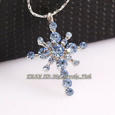 A1-P207 Rhinestone Star Cross Necklace Pendant 18KGP Crystal