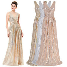 Sequins Sexy Long V-Neck Evening Party Cocktail Dress Bridesmaid Prom Club Gown