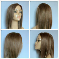 high heat resistant fibre smooth layers lady wig with skin top parting F-011