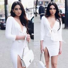 Sexy Women Fashion Deep-V Long Sleeve Bowknot Split Dresses Bandage Mini Dress