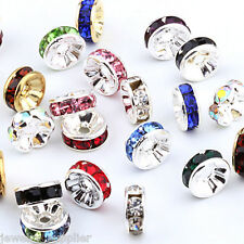 Hot 50/100Pcs Multi Crystal Rhinestone Silver Plated Rondelle Spacer Beads 6mm