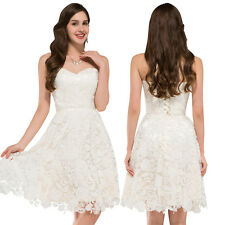 Formal Gown Party Prom Bridesmaid Evening Dress Mini Floral Lace White Cocktail