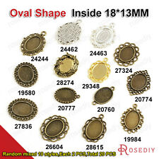 Random mixed style inside:18*13MM Oval Trays Bezels Cameo settings Pendant 19580