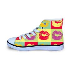 Kids Girls Canvas Sports Sneakers Athlete Shoes Flat Lace up High Top Sneakers
