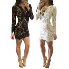 Sexy Lace Embroidery Ribbed Cross Bandage Plunge Vneck Bodycon Cocktail Dress
