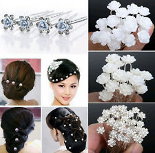 20/40X Noble Wedding Bridal Pearl Flower Alloy Crystal HairPin Clips Bridesmaid