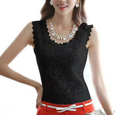 Summer Vintage Lace Top Crochet Blouse Shirt Tee Vest Elegant Fitted Tank Tops