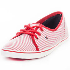 Tommy Hilfiger Sm Kesha Womens Trainers Stripes White Red Flats New Shoes