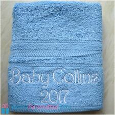 Personalised Towel, Luxury 100% Cotton Towels, Blue, 550 gsm