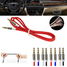 1M Braided 3.5mm Male To Male Stereo Audio AUX Cable Cord Lead For iPod MP3 Car