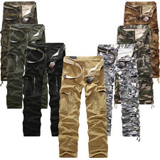 Mens Army Cargo Camo Combat Military Trousers Camouflage Pocket Casual Pants