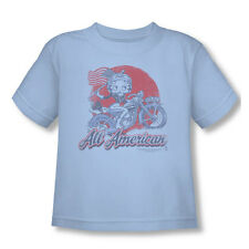 Betty Boop Boys' All American Biker Childrens T-shirt Blue Rockabilia