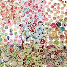 100pcs 15mm Mixed Color Round Wood Buttons for Sewing Scrapbooking DIY Craft