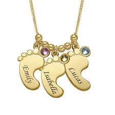 Mom Jewelry - Personalized Baby Feet Necklace with Birthstones in Gold Plating