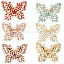 Butterfly Style Women's Girl Crystal Rhinestone Brooch Pin Jewelry Choose Color