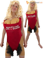 Adults Brazilian Babs Lifeguard Costume Mens Hairy Mary Fancy Dress Stag Party