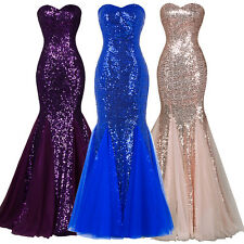 Mermaid SEQUINS Bridesmaid Evening Formal PARTY Dress Cocktail Ball Gown Dresses