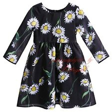 Summer Girls Dress Princess Kids Daisy Flower Pattern Toddlers Clothes 3-12years