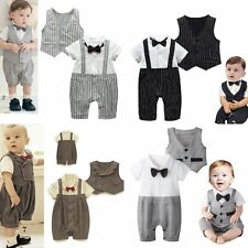 Baby Boy Wedding Christening Formal Party Tuxedo Suit Outfit+Waistcoat Set 3-24M