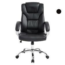 Black Office Chair PU Leather Ergonomic High Back Executive Computer Desk Task