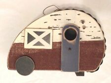 Birdhouse Camper Replica Rustic Wood Tin Burlap Details Home Garden Decor New