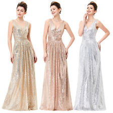 New Sequins Long Wedding Formal Bridesmaid Pageant Party Evening Dress Prom Gown