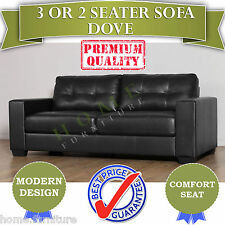 BRAND NEW Black PU Leather 2 or 3 seater Sofa Modern Design Lounge Couch