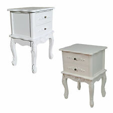 French 2 Drawer Vintage Antique Style Ornate Carved Shabby Chic Bedside Table