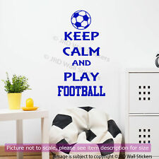 Keep Calm and Play Football Quote Removable Vinyl Wall Decal Sport Sticker Decor