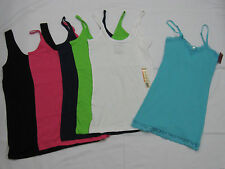 No Boundries Tank & Cami Tops Sleeveless Solid Casual 100% Cotton/Cotton Blend