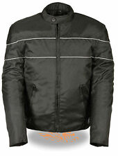 MEN'S MOTORCYCLE SCOOTER VENTED TEXTILE JACKET W/REFLECTIVE PIPING GUN POCKET