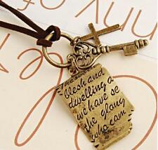 New Retro Shakespeare Love Letter Cross Key Pendant Long Chain Necklace