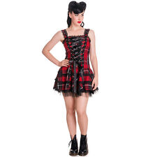 Womens Red Hell Bunny Harley Tartan Punk Alternative Grunge Casual Mini Dress
