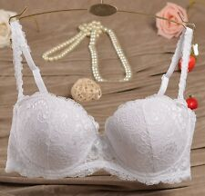 Elegant Womens Removable Strap Push-Up Padded Underwire Non-slip Lace Bra White