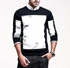 New Mens Cotton Floral Crewneck Long Sleeve T-Shirt Basic Tee Black L XL XXL