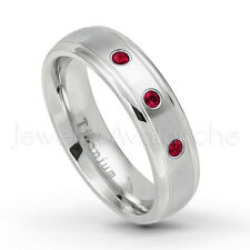 0.21ctw Ruby 3-Stone Ring, July Birthstone, Comfort Fit Dome Titanium Ring TM399