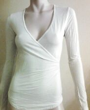 James Perse WTJ3012 Women's L/s  t Shirt blouse  V Neck White Top 100% tencl new