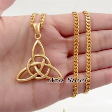 Celtic Knot Bright Gold Stainless Steel Pendant with 5MM Curb Chain Necklace