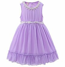 Baby Girl Summer Lace Flower Dress Princess Recital Pageant Birthday Party 2-6Y
