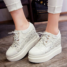 Hot Womens Sneakers Casual Lace Up Creeper Star Printed Shoes Plus Sz 10 New