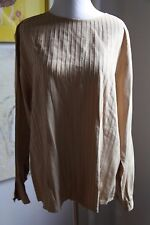 Vintage Robert Malcolm 100% silk Pleated Beige Long Sleeve Blouse size L 10