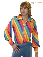 Adults 1970s Rainbow Colour Shirt Mens 70s Striped Disco Fancy Dress Costume